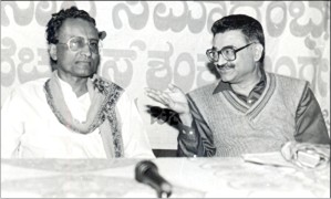 Star of Mysore editor-in-chief K.B. Ganapathy (right) with the politician H.S. Shankaralinge Gowda, who passed away yesterday