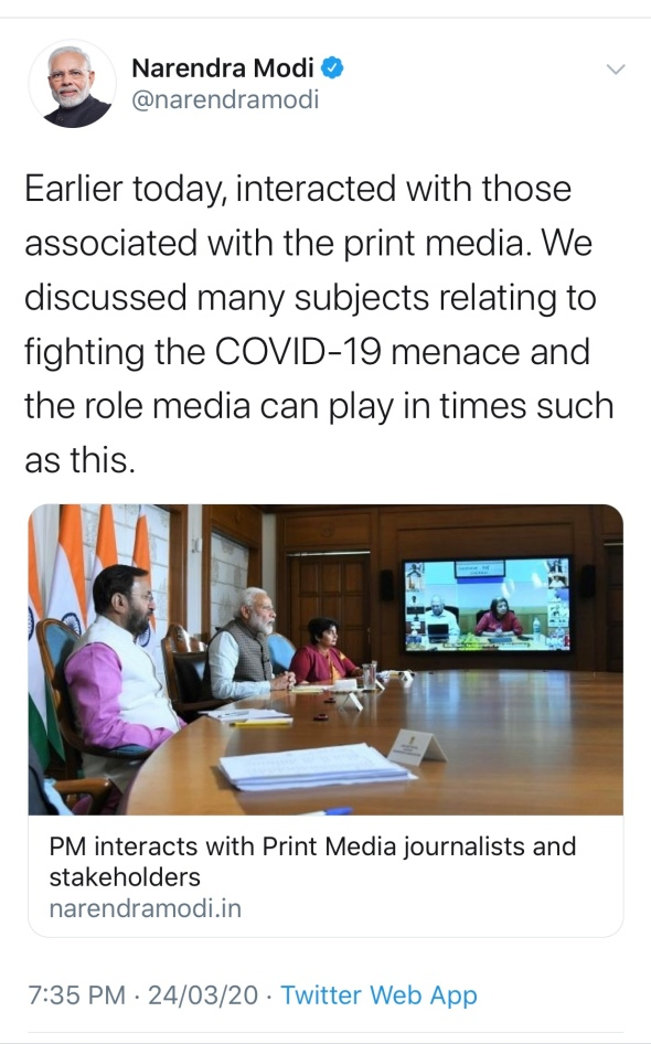 """When Narendra Modi took notes: How the owners of India's language newspapers """"advised"""" the PM six hours before he announced a 21-day shutdown. (Or so it seems.)"""