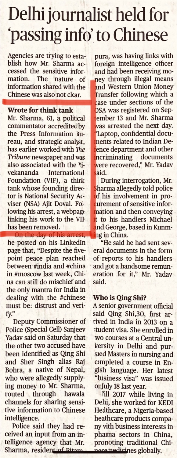 Except The Hindu And The Telegraph Most Newspapers Can T Join The Dots Between Arrested Journalist Rajeev Sharma And Nsa Ajit Doval Ijr